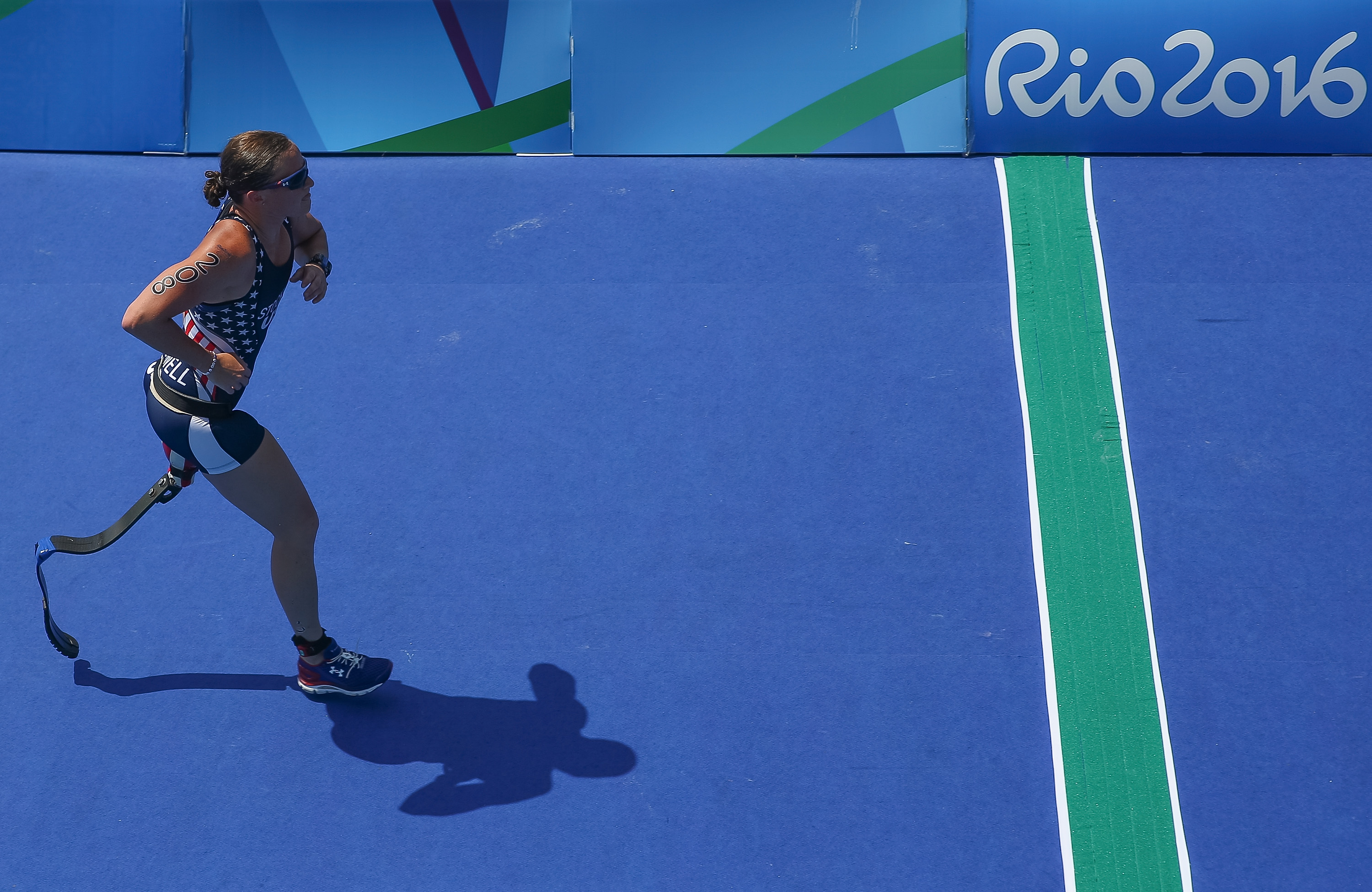 Melissa Stockwell of the United States competes in the run of the Triathlon Women's T2 at Forte de Copacabana on day 4 of the Rio 2016 Paralympic Games on September 11, 2016 in Rio de Janeiro, Brazil.