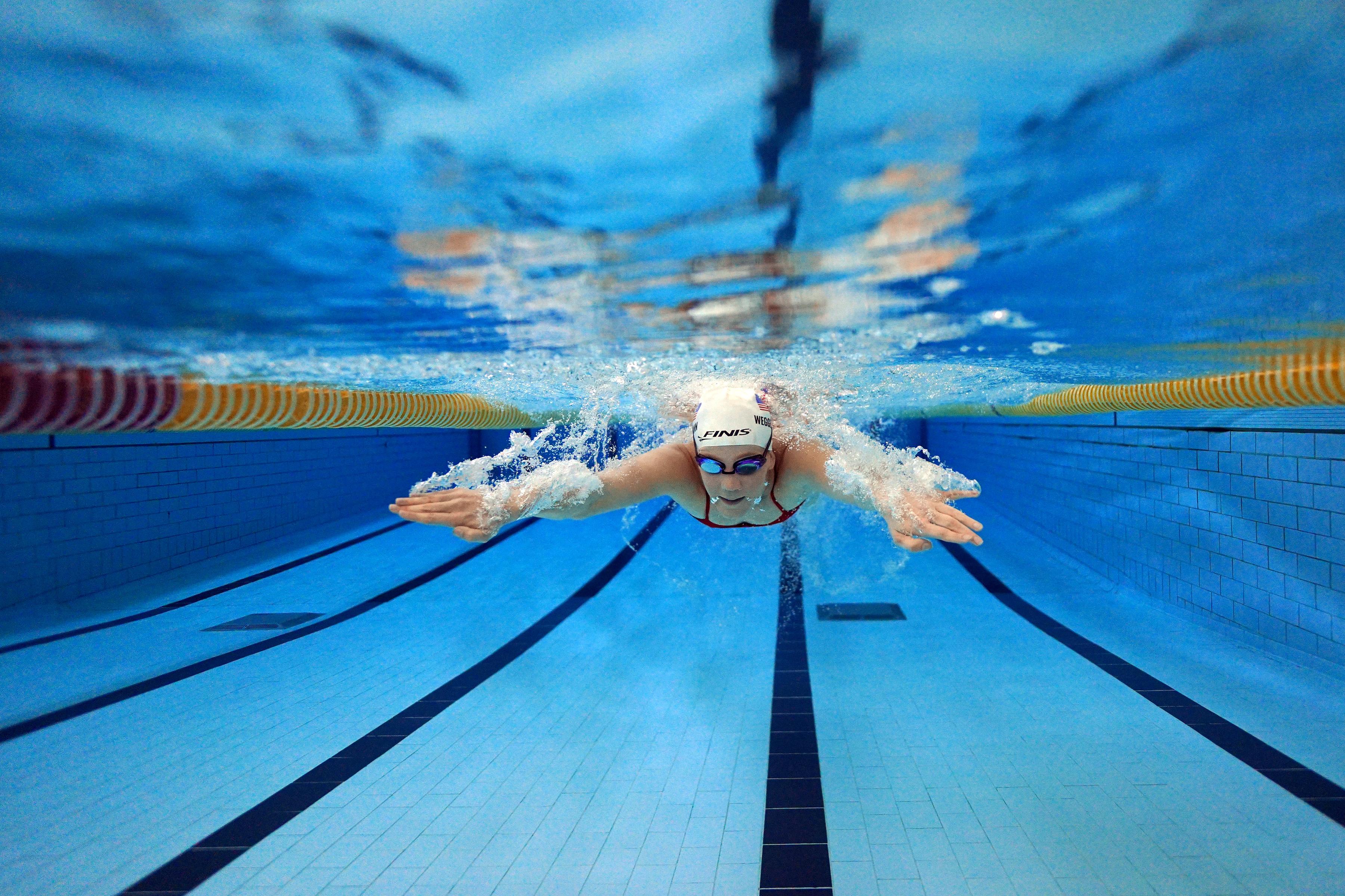 Paralympic swimmer Mallory Weggemann swam laps in a pool at the University of Minnesota.