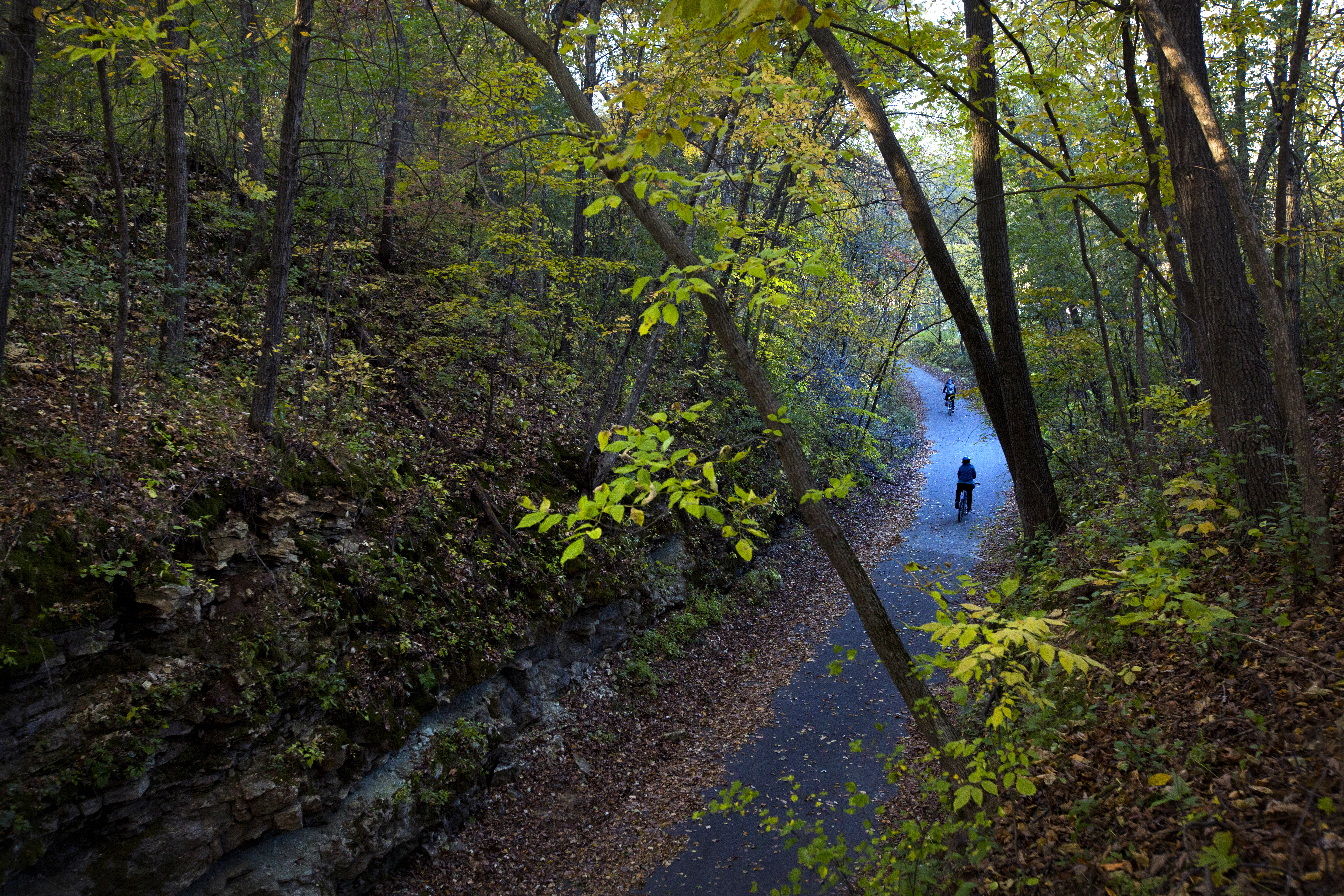 The 42-mile Root River state bike trail begins in Fountain and runs through the quaint and picturesque rural communities of Lanesboro, Whalan, Peterson, Rushford and Houston.