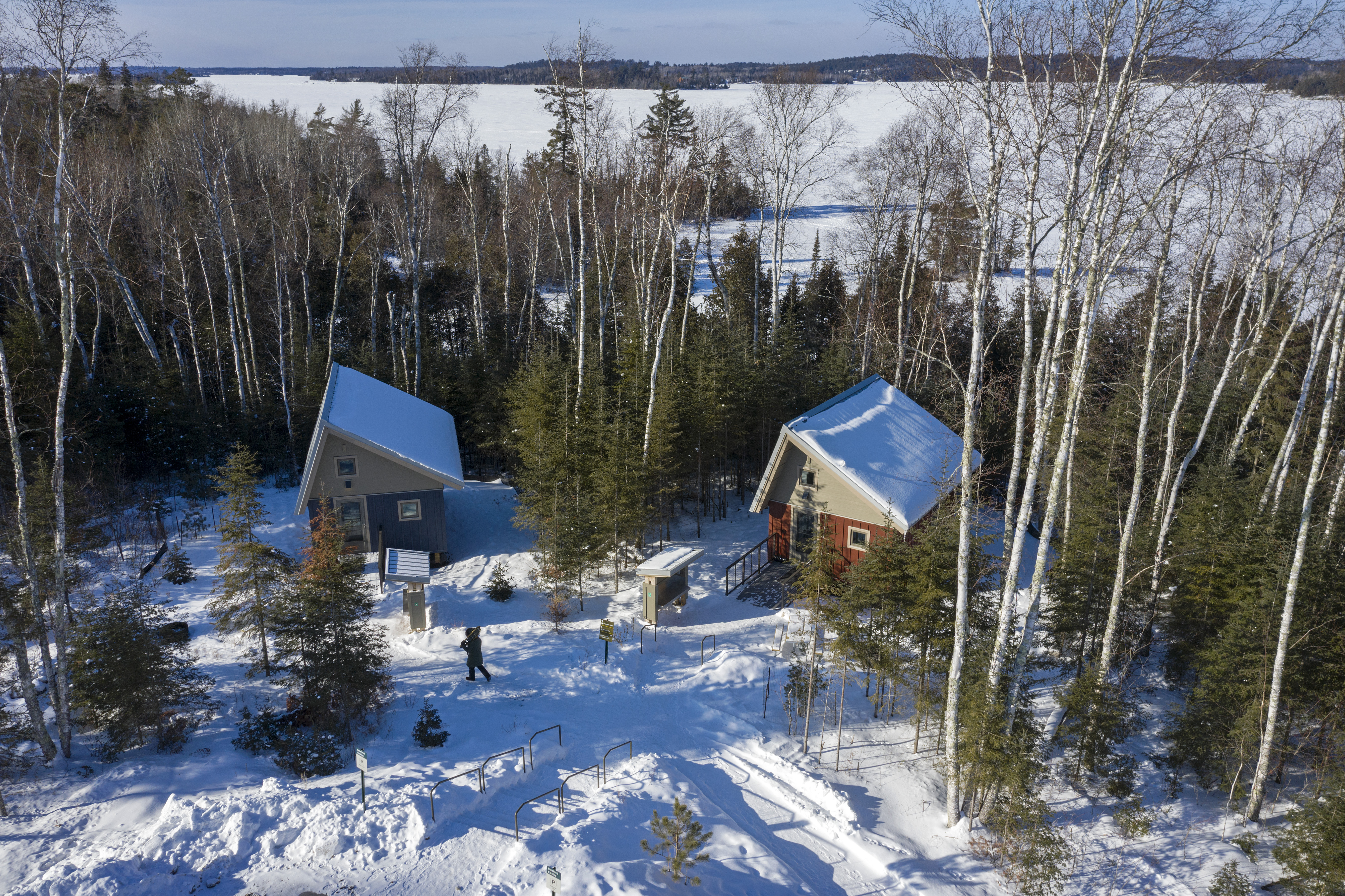 Eight camper cabins dot Lake Vermilion–Soudan Underground Mine State Park. Open year-round, they have Wi-Fi and electricity, but no running water.